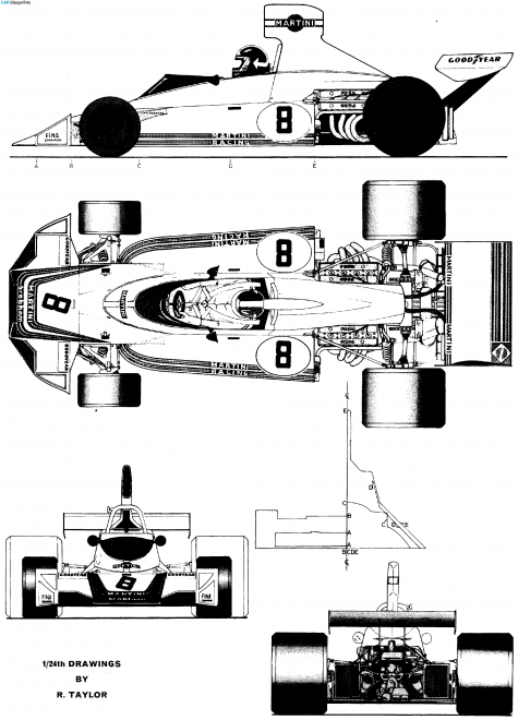 1975 Brabham BT44 F1 OW blueprint