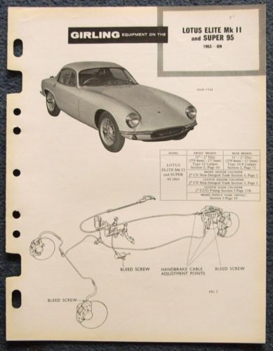 LOTUS-ELITE-Mk-II-SUPER-95-GIRLING-1963-Brakes-Installation-Data-Guide